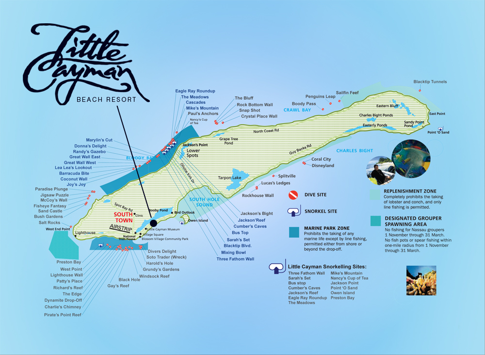 Little Cayman Dive Site Map