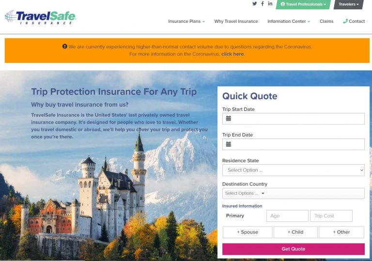 TravelSafe home page